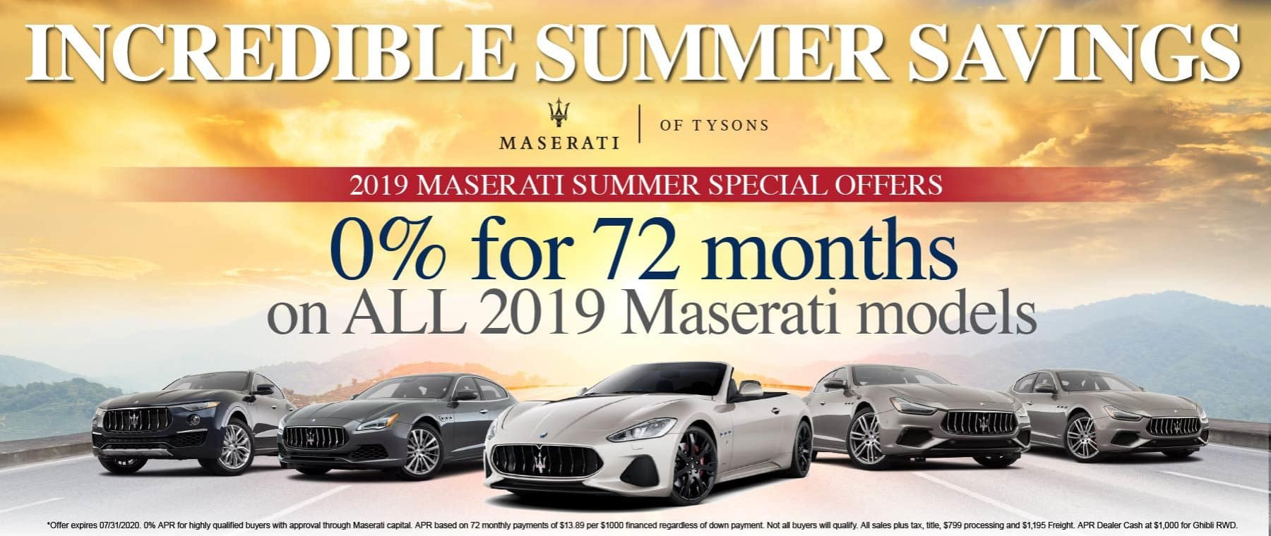 Incredible Summer Savings. 2019 Maserati Special Offers. 0% for 72 months on all 2019 Maserati models.