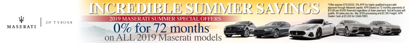 2019 Maserati Summer Special Offers - 0% for 72 months on all 2019 Maserati models