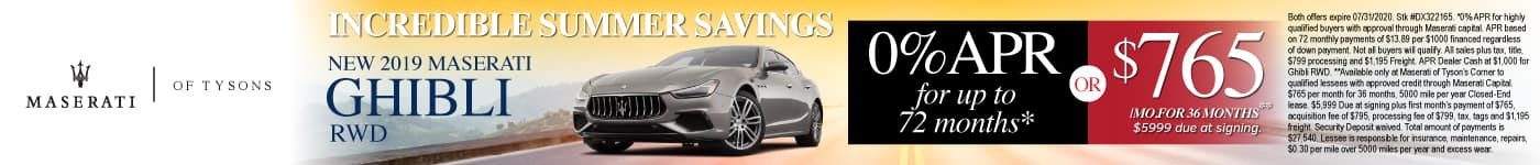 New 2019 Maserati Ghibli - 0% APR for up to 72 months or $765 a month for 36 months