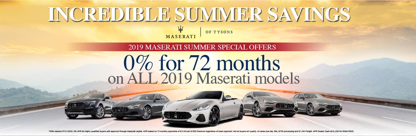 0% for 72 months on all 2019 Maserati models