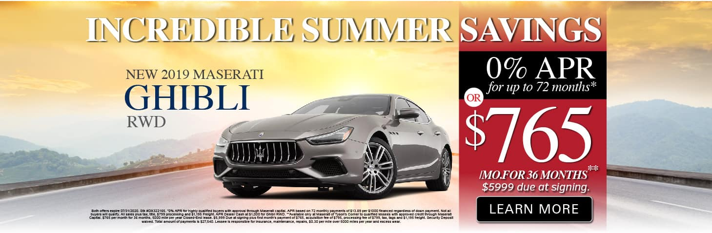 Ghibli 0% APR or $765 a month for 36 months