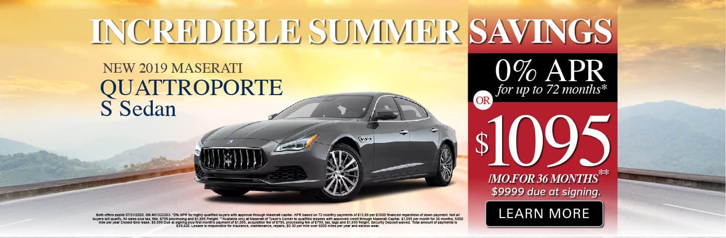 Quattroporte S Sedan 0% APR or $1095