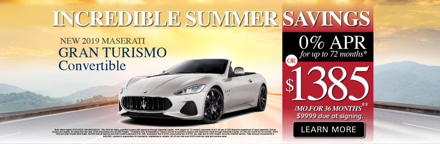 2019 Gran Turismo Convertible 0% APR or $1385 a month for 36 months
