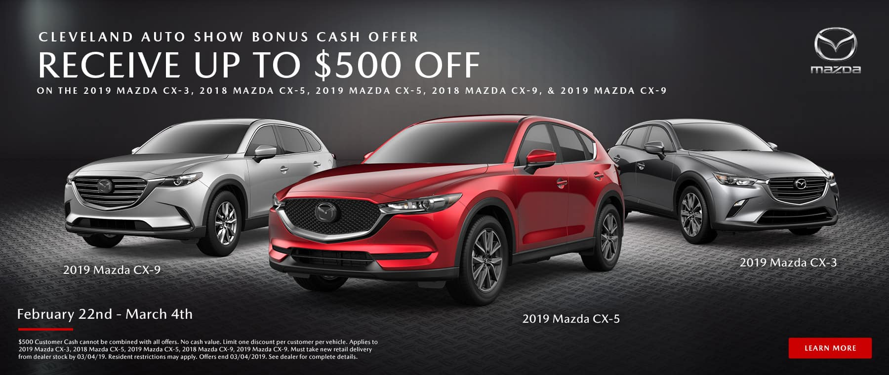 Celebrate the Cleveland Auto Show with extra savings for a limited time at Mazda of Bedford