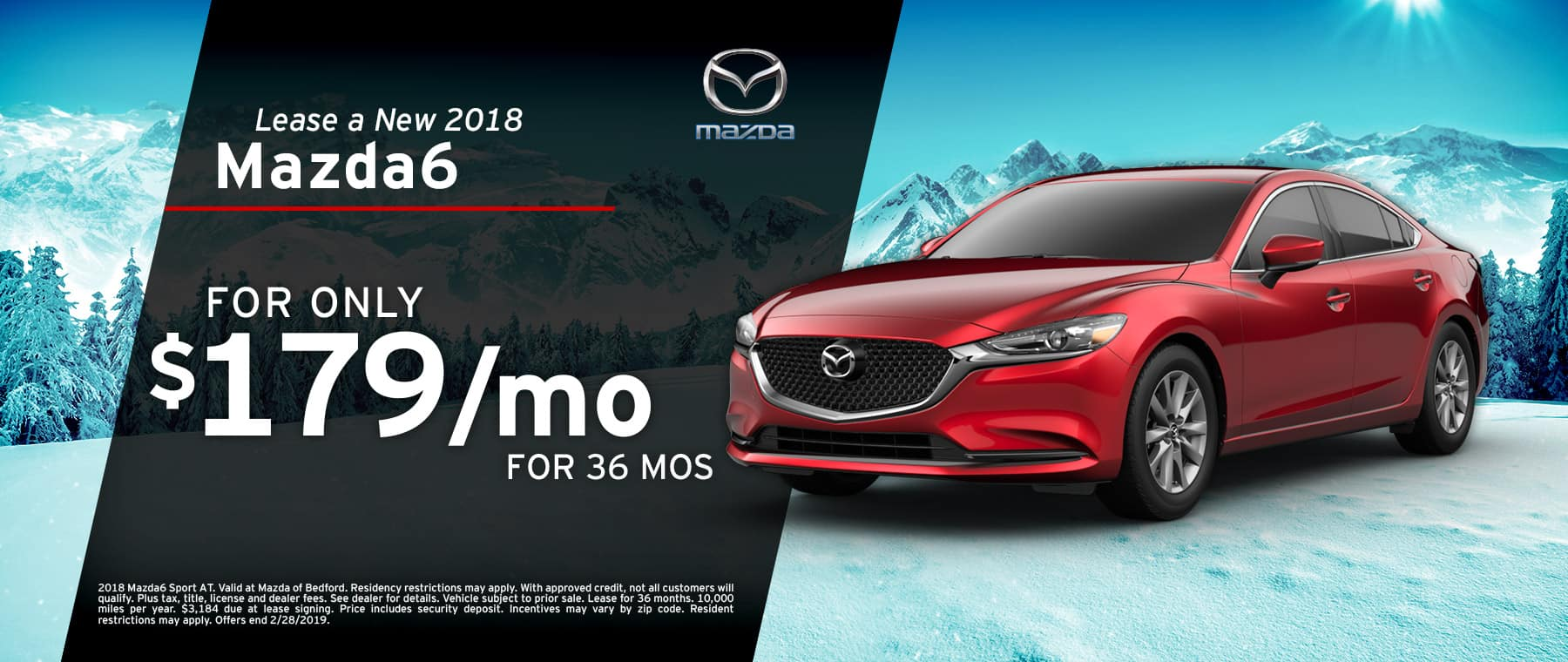 Save when you lease a 2018 Mazda6 at Mazda of Bedford