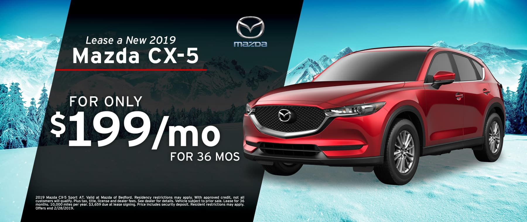 Save when you lease a 2019 Mazda CX-5 at Mazda of Bedford
