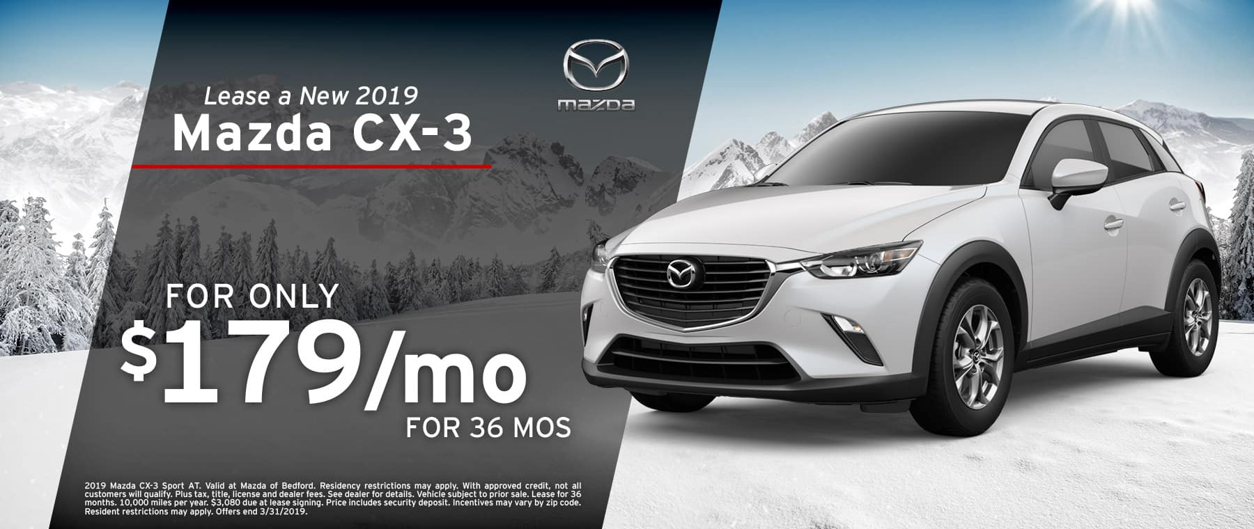 Save when you lease a 2019 Mazda CX-3 at Mazda of Bedford in Ohio