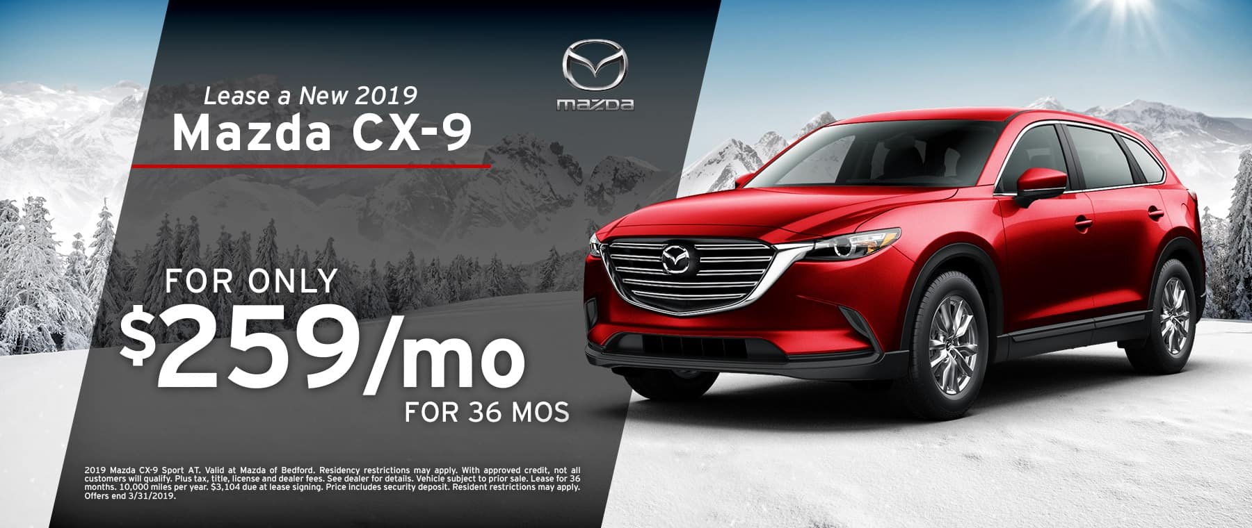 Save when you lease a 2019 Mazda CX-9 at Mazda of Bedford in Ohio