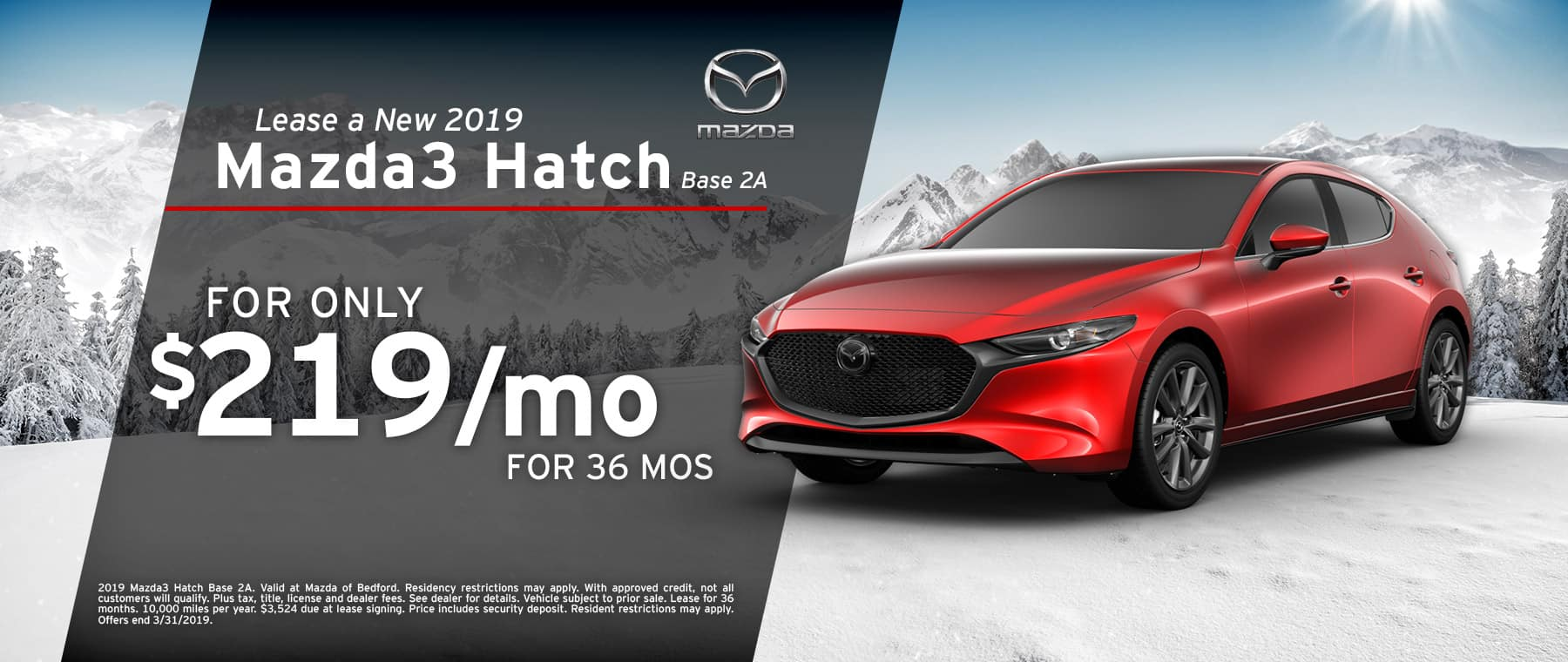 Save when you lease a 2019 Mazda3 Hatchback at Mazda of Bedford in Ohio