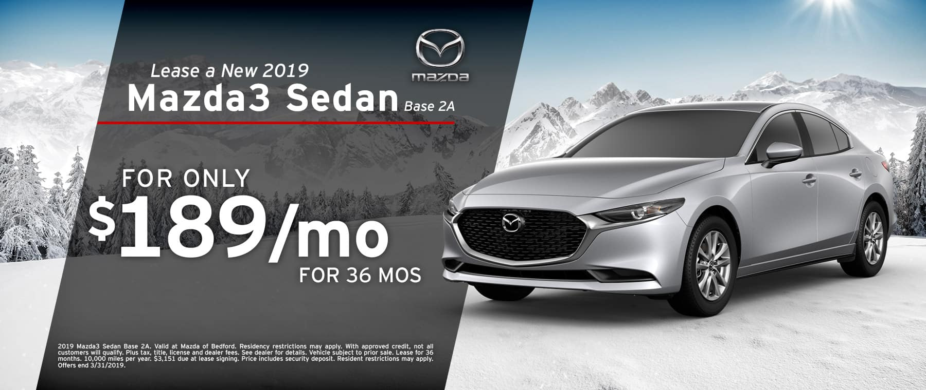 Save when you lease a 2019 Mazda3 Sedan at Mazda of Bedford in Ohio