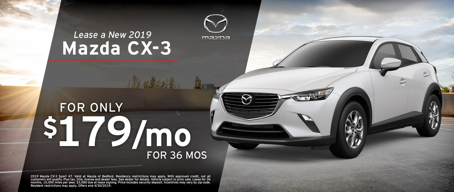 Save when you lease a 2019 Mazda CX-3 at Mazda of Bedford