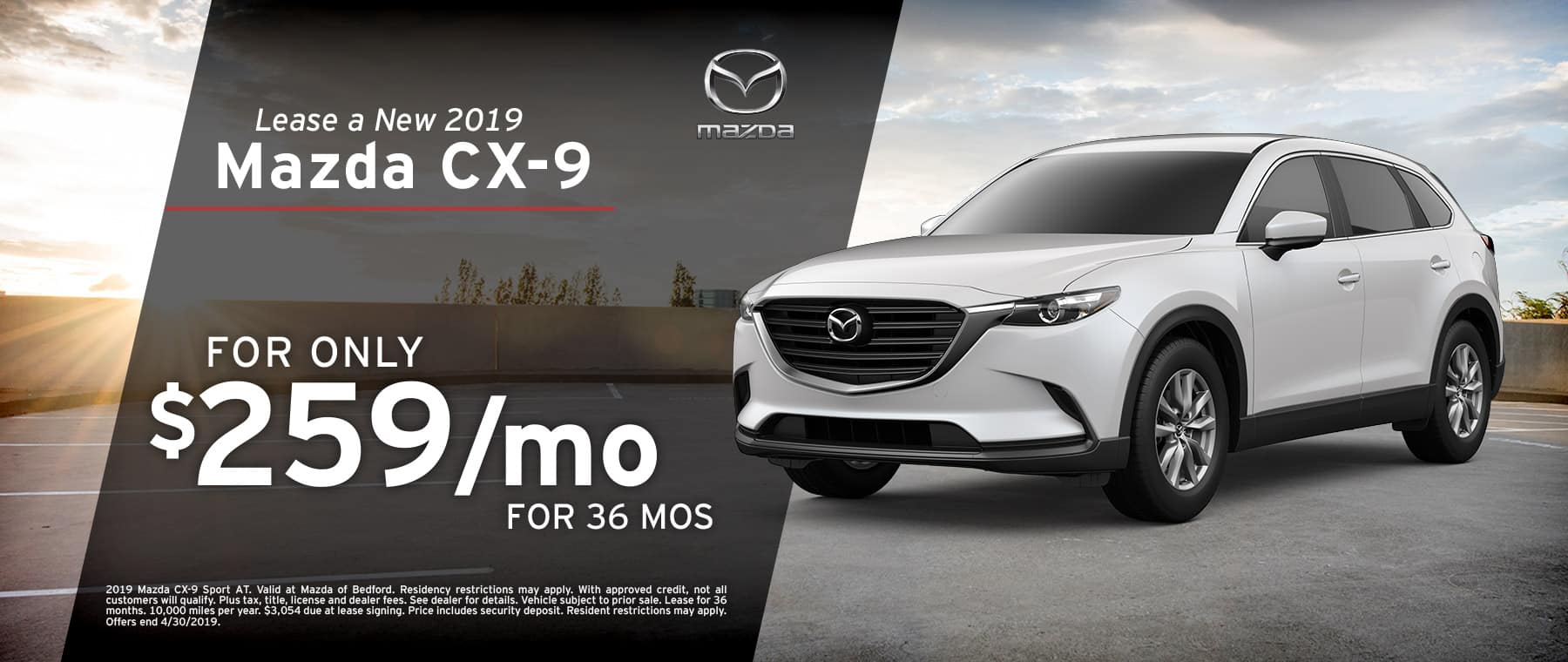Save when you lease a 2019 Mazda CX-9 at Mazda of Bedford