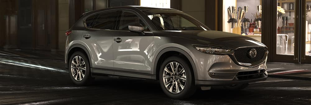 2019 mazda cx-5 silver exterior side shot on street