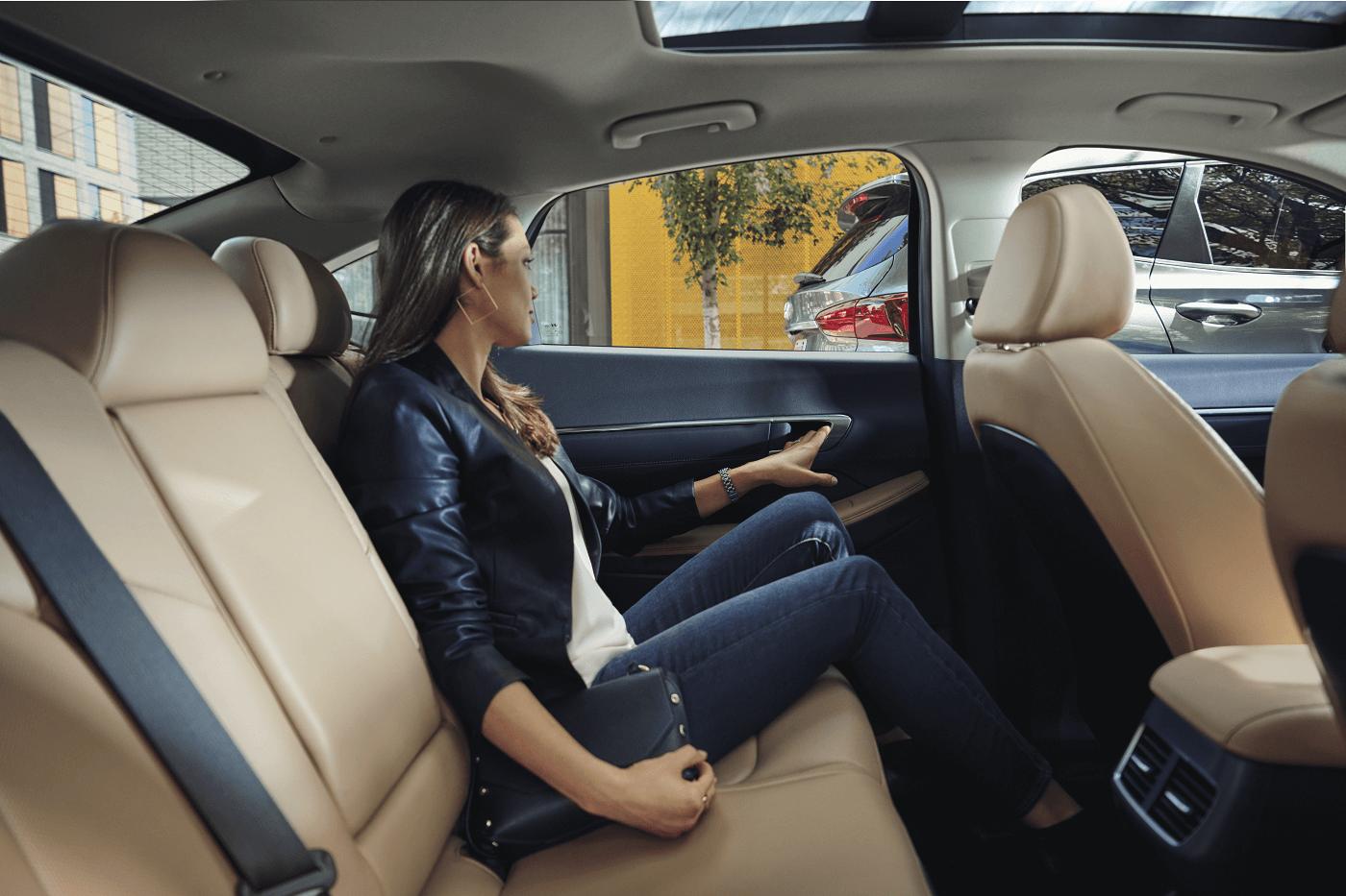 Person Sitting in Back of Hyundai Sonata Interior Cabin