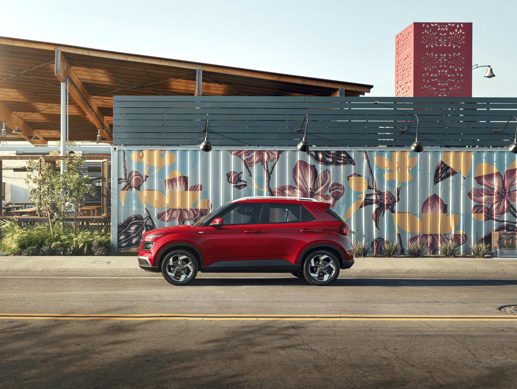 2020 Hyundai Venue Scarlet Red Flower Mural