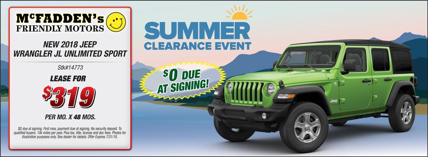 2018 Jeep Wrangler Summer Sale