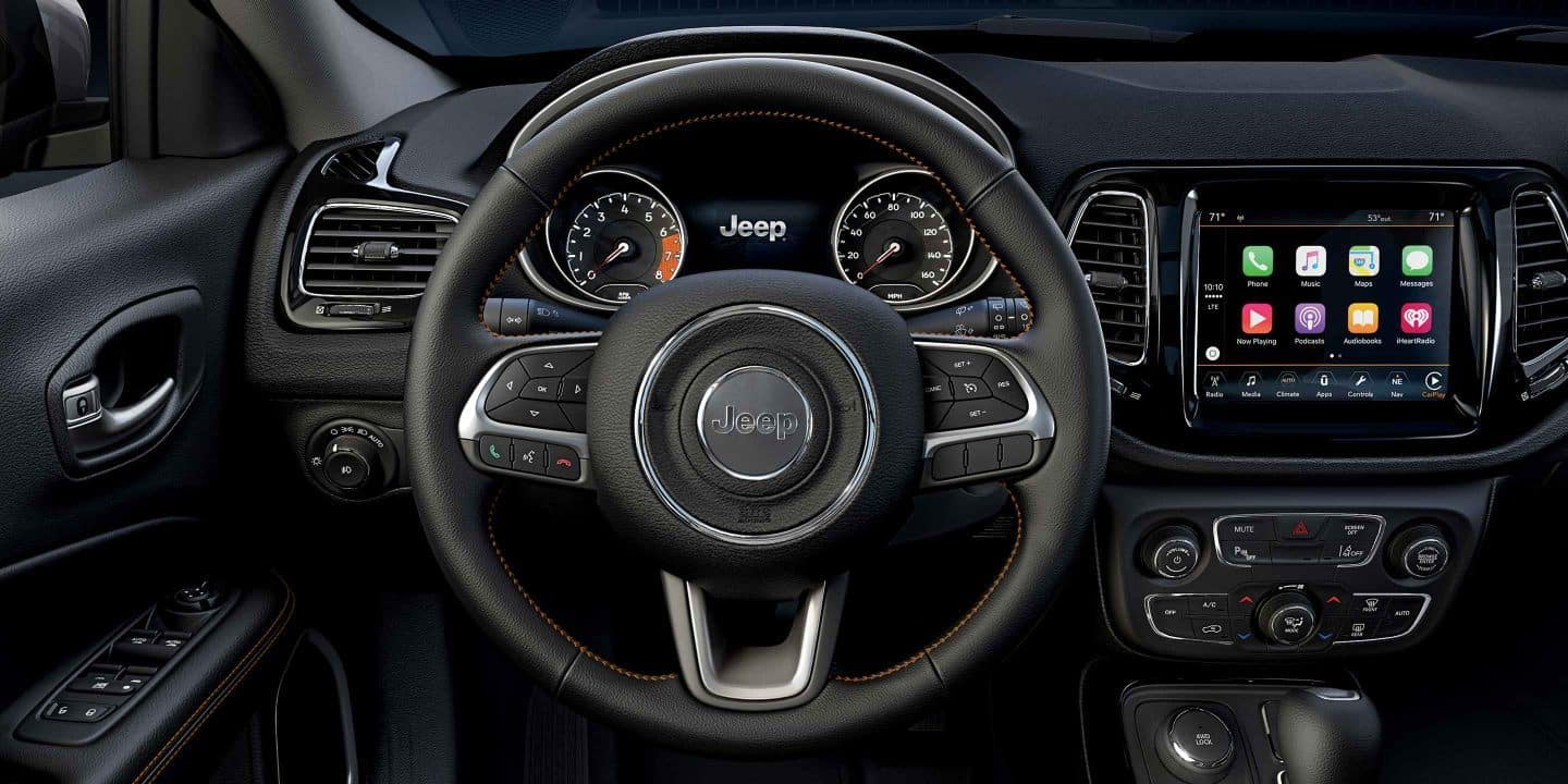 The All Black Dashboard of the 2019 Jeep Compass