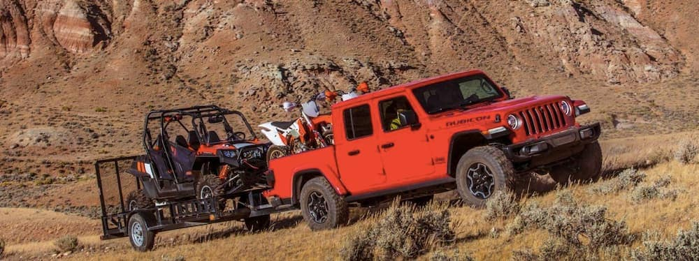 2020 Red Jeep Gladiator Rubicon Towing Off-Road