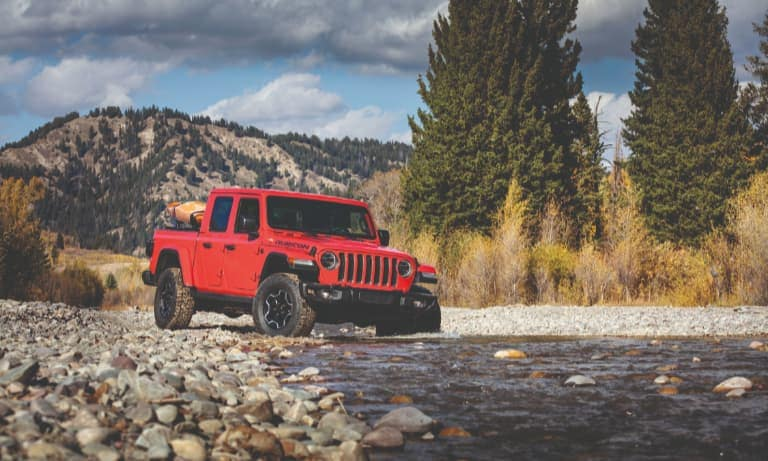 2020 Red Jeep Gladiator Driving Off-Road