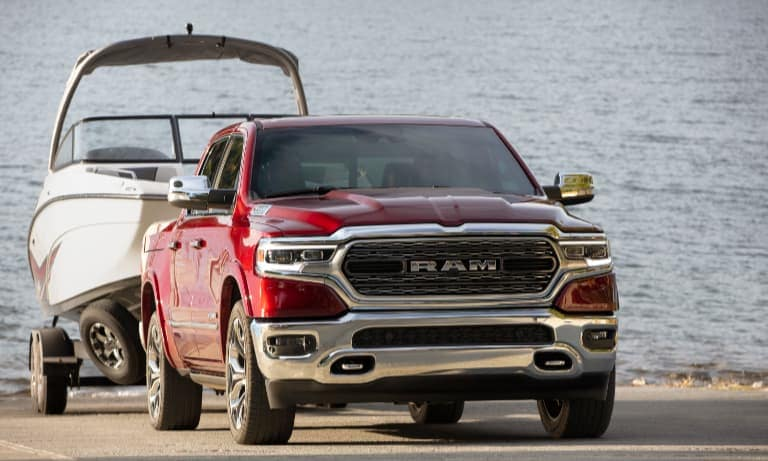 2020 Red Ram 1500 Limited Towing a Boat