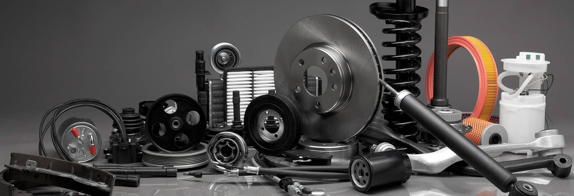 Basic automotive parts for general maintenance and repairs.