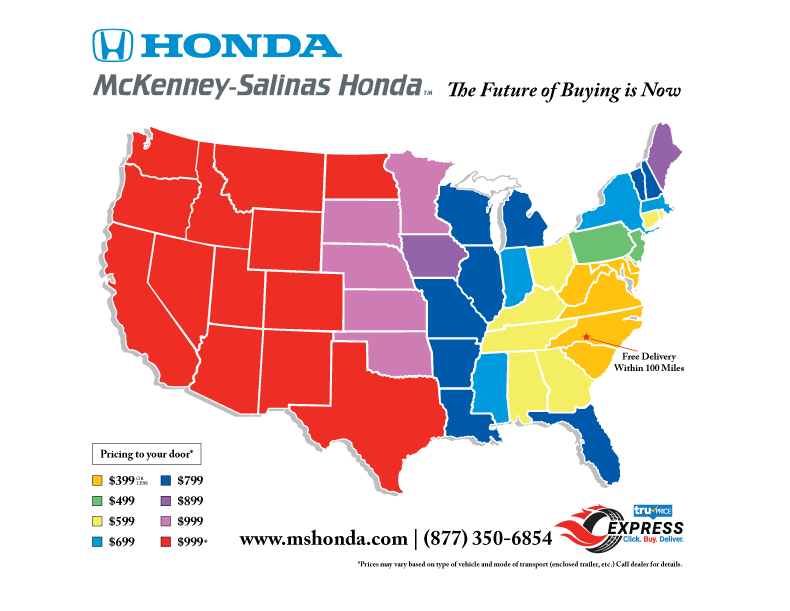 McKenney-Salinas Honda Vehicle Shipping Map