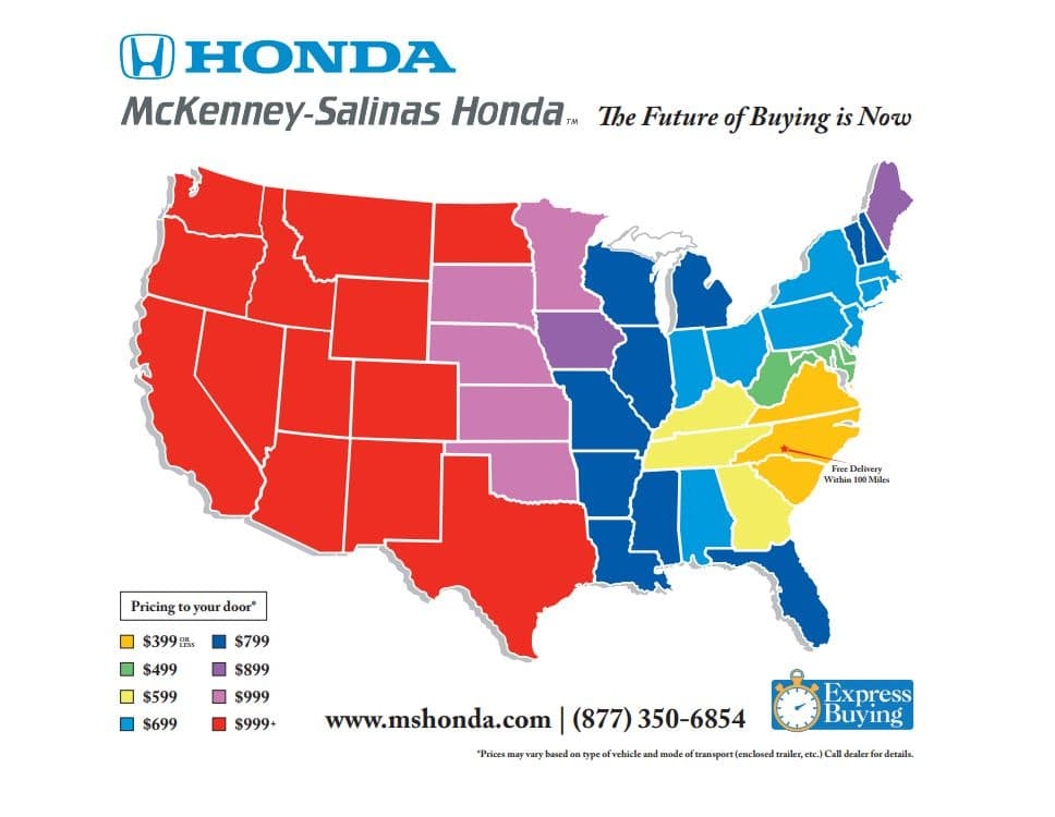 MS Honda Shipping Map