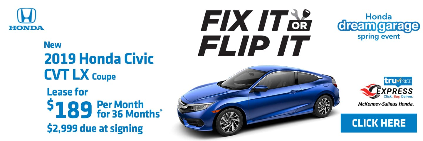 Lease the new 2019 Honda Civic Coupe.
