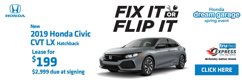 Lease the 2019 Honda Civic Hatchback at McKenney-Salinas Honda.