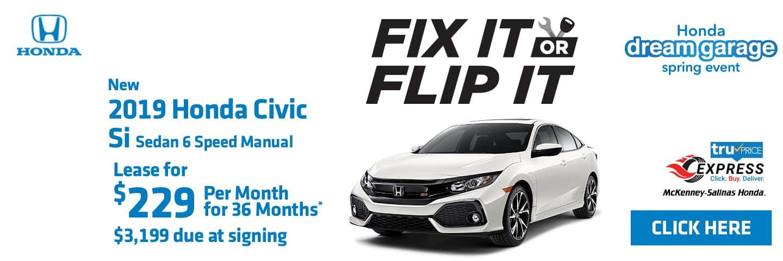 Lease the 2019 Honda Civic Si at MS Honda.
