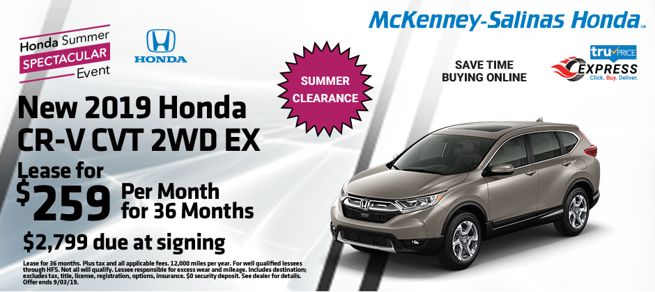 Honda Crv Lease >> Lease The New Honda Cr V For Just 259 Per Month Mckenney