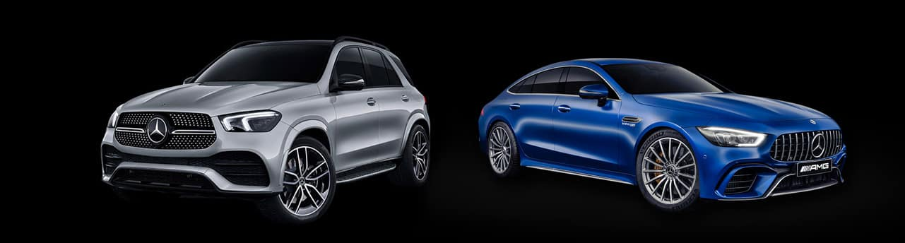 2020 GLE SUV and 2019 AMG GT 4-Door against black background