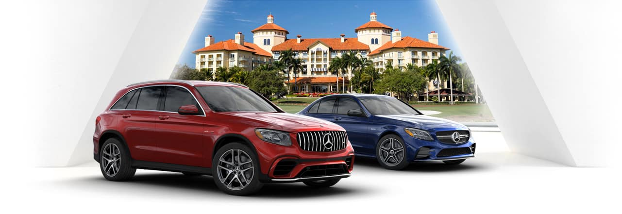 2020 GLE SUV and 2019 AMG GT 4-Door against white background and the Ritz Carlton