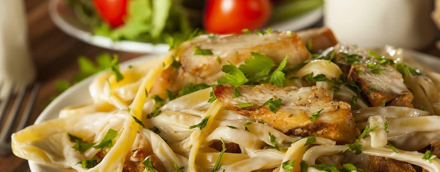 Pasta Dish with Salad