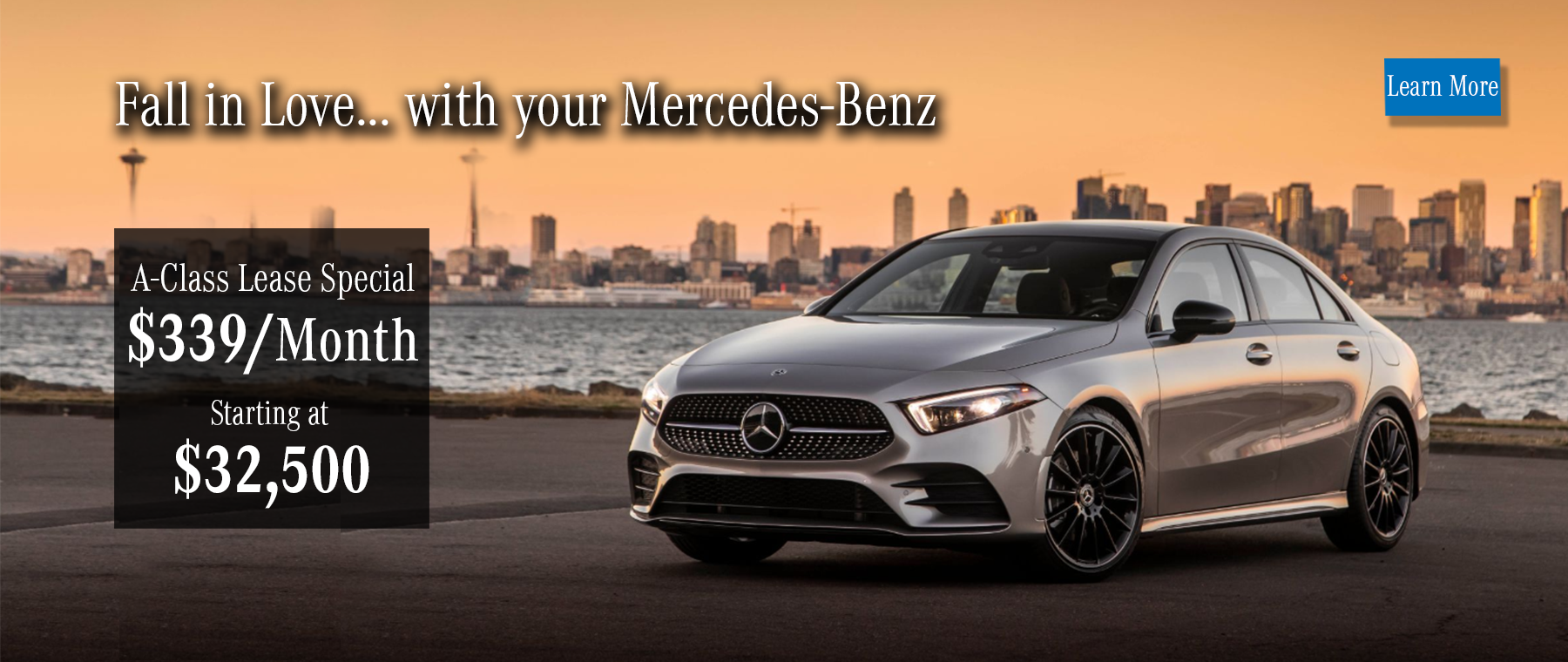 A-Class leases starting at $339 and price starting at $32,500