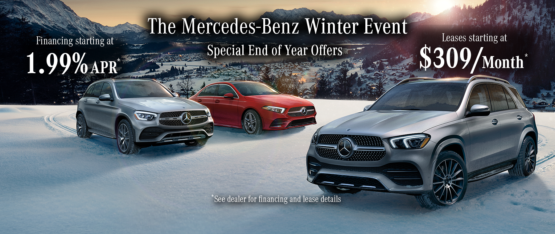 Winter Event - leases starting at $309 and financing starting at 1.99%