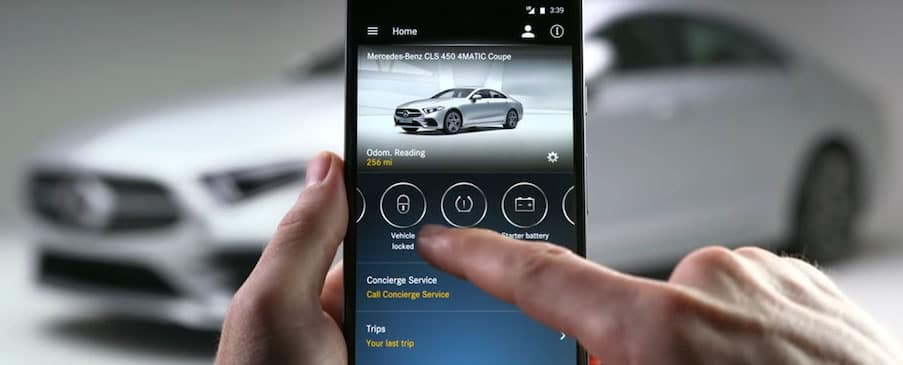 man using mercedes mes connect app