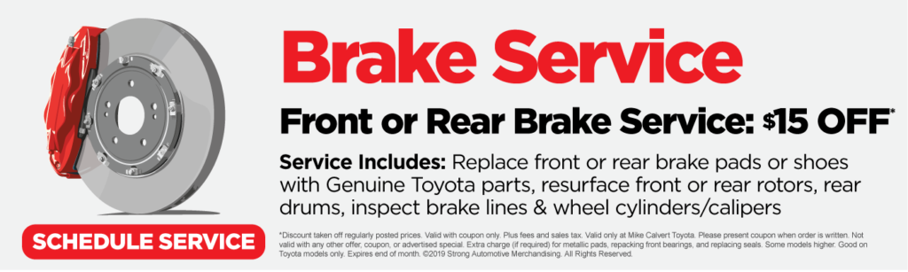 $15 off front or rear brake service. click here to schedule service.