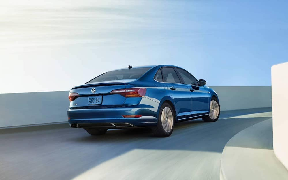 2019 Volkswagen Jetta SEL Premium in silk blue metallic back view