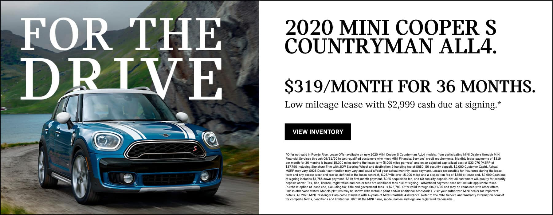 2020 MINI COOPER S COUNTRYMAN ALL4. $319/MONTH FOR 36 MONTHS