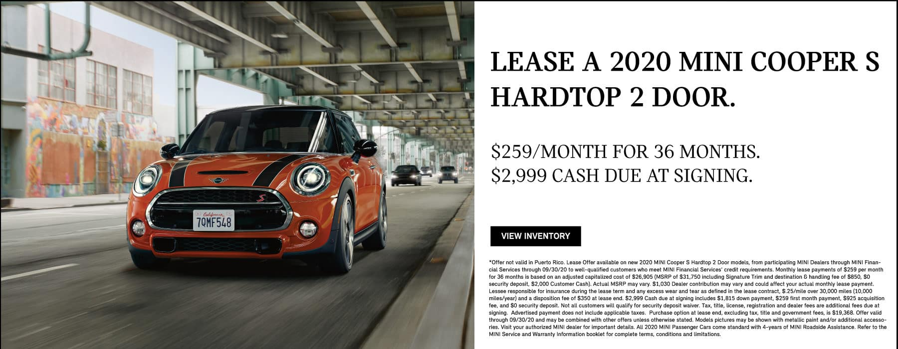 Lease a 2020 MINI Cooper S Hardtop 2 Door. $259/month for 36 months. $2,999 cash due at signing.