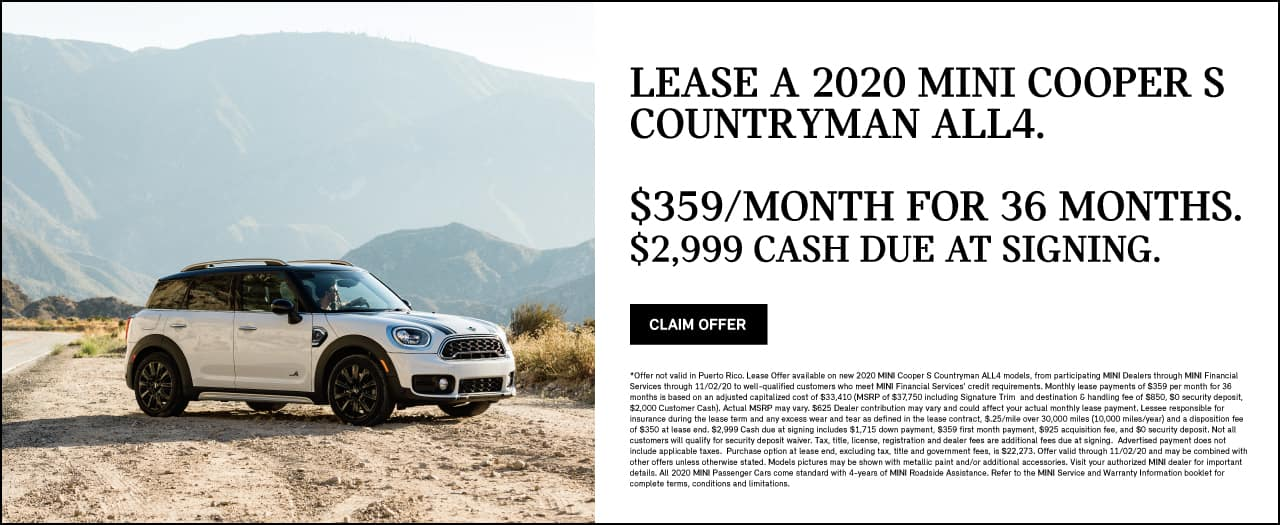 LEASE A 2020 MINI COOPER COUNTRYMAN ALL4. $359 per month for 36 months.