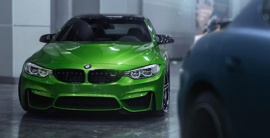 BMW M4 green sports coupe , tuning M4 front-view exterior