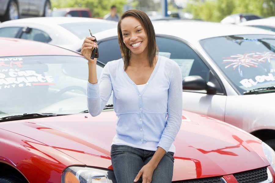 Happy car buyer
