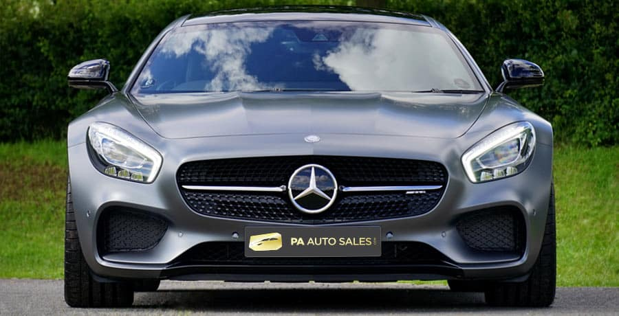 A grey Mercedes Benz AMG