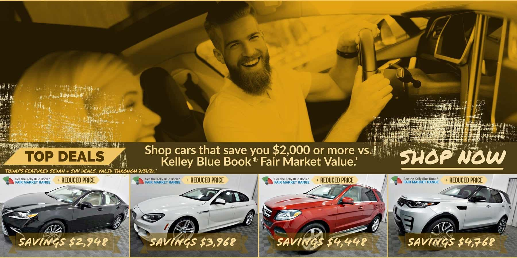 Today's featured Sedan & SUV for sale deals. Valid through 7/31/21.
