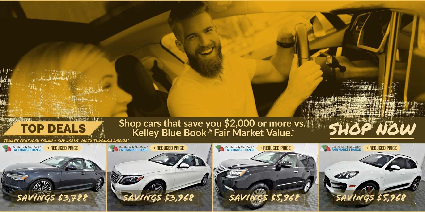 Today's featured Sedan & SUV for sale deals. Valid through 6/30/21.
