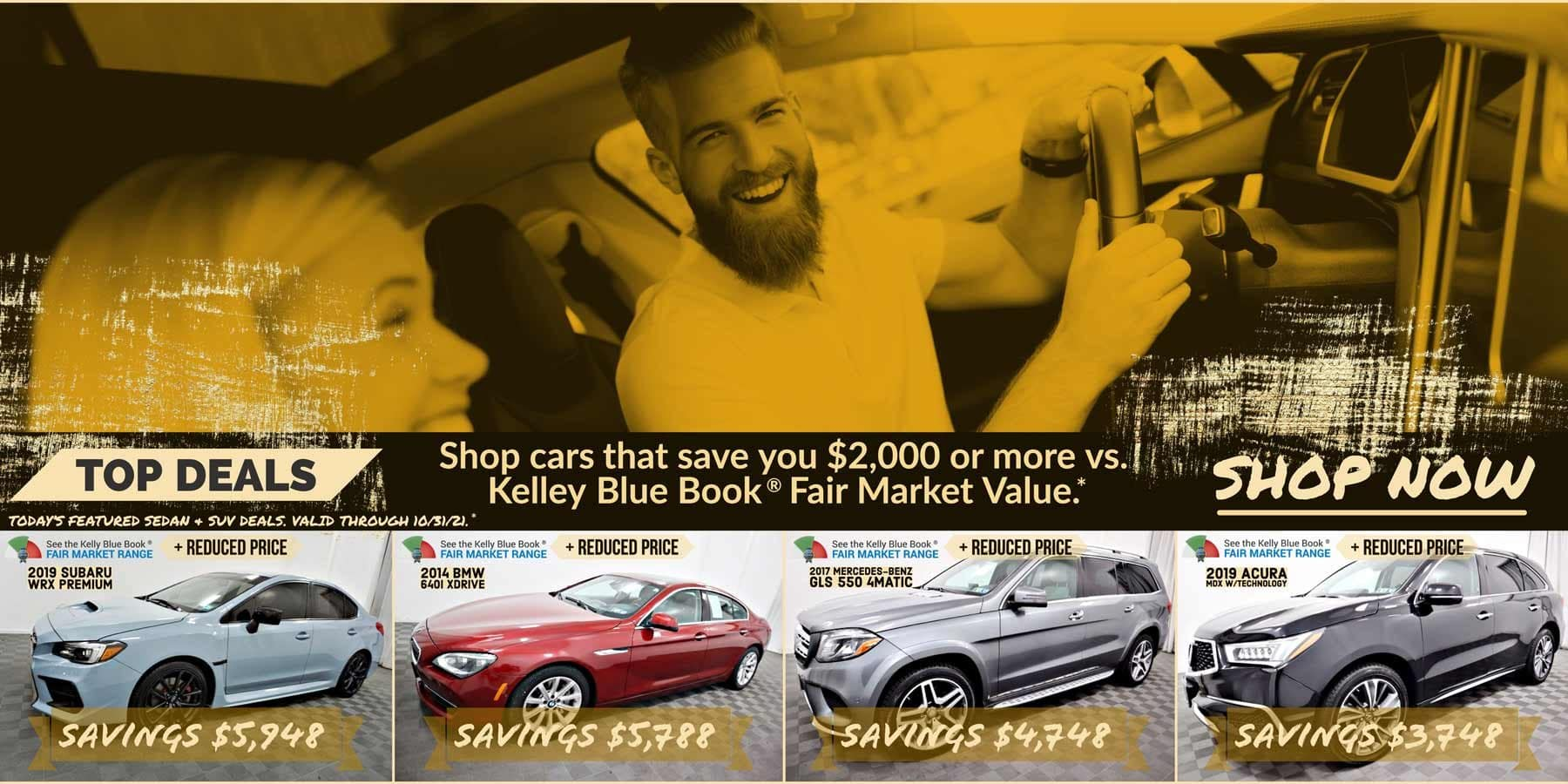 Today's featured Sedan & SUV for sale deals. Valid through 10/31/21.