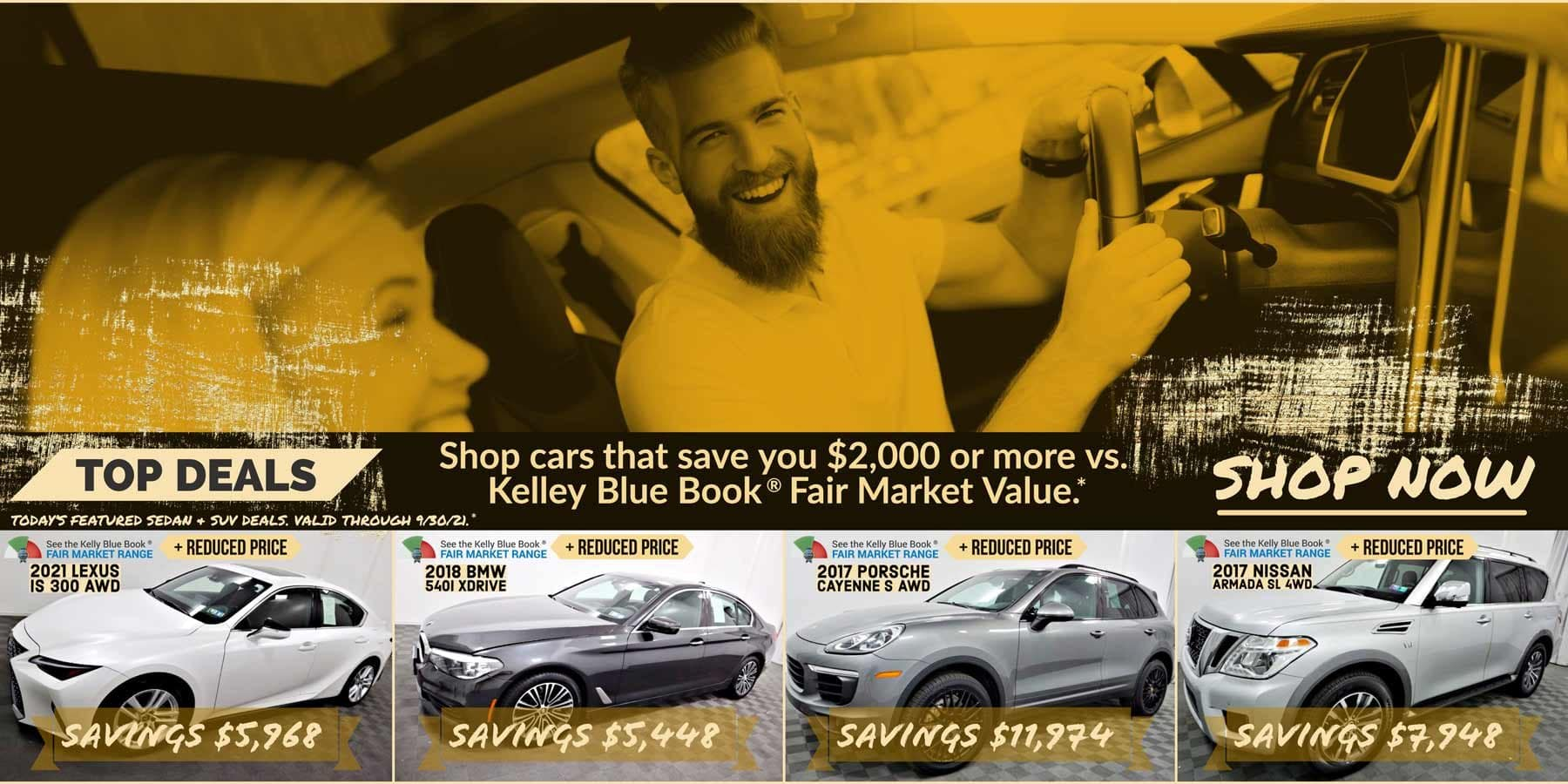 Today's featured Sedan & SUV for sale deals. Valid through 9/30/21.