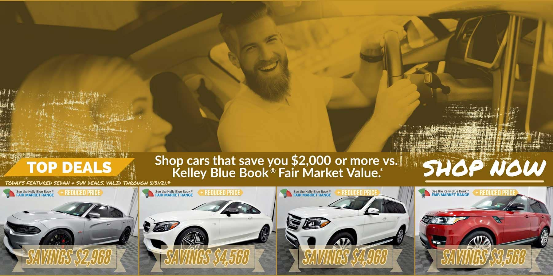 Today's featured Sedan & SUV for sale deals. Valid through 5/31/21.
